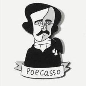 5/$4 Poecasso Poe/Picasso Pun Pin Brooch